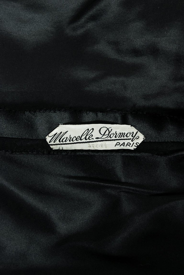Vintage 1940's Marcelle Dormoy French Couture Black Silk Cut-Outs Low Back Gown For Sale 3