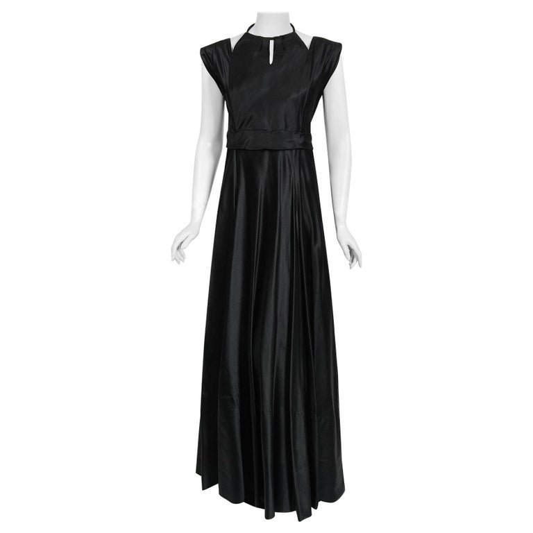 1940's Marcelle Dormoy French Couture Black Silk Sculpted Cut-Outs Low Back Gown For Sale