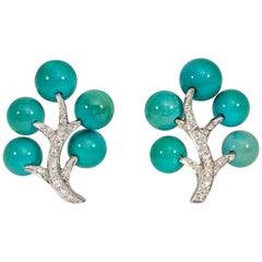 1940s Marianne Ostier Turquoise and Diamond Stylized Foliate Motif Earrings