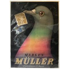 1940s Marken Müller Advertising Poster for A Swiss Philatelic Store