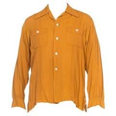 1940S MARLBORO Brown Rayon Blend Gabardine Shirt Jacket