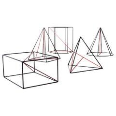 1940s Mathematical Three Dimensional Teaching Geometric Shape, Set of Five