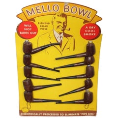 1940s Mello Bowl Smoking Pipes Vintage Cardboard Display Ad
