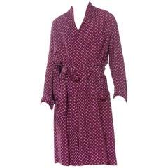 1940S Burgundy Rayon Geometric Printed Mens Robe