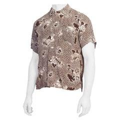 1940S Mens Small Rayon Scenic Print Shirt