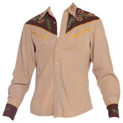 1940'S Brown Wool Men's Two-Tone Western Shirt With Metallic Floral Embroidery