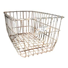 1940s Metal Locker Room Basket with Number Plate 62