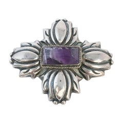 1940s Mexican Silver Brooch with Amethyst