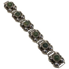 1940s Mexican Sterling & Green Calcite Cabochon Bracelet