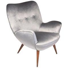 1940s Midcentury Franco Buzzi Grey Velvet Armchair