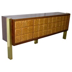 1940s Minimalist Dark & Light Palisander Wood Cabinet / Sideboard on Brass Legs