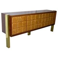 1940s Minimalist Dark & Light Palisander Wood Cabinet / Sideboard on Brass Legs