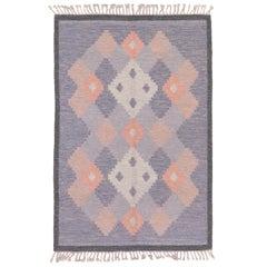 1940s Minimalist Scandinavian Flatweave Rug, Subtle Purple Field, Pink Accents