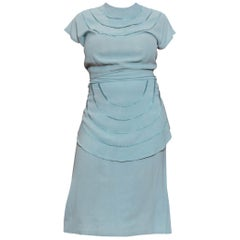 1940S Mint Blue Rayon Crepe Dress With Sash Belt Peplum