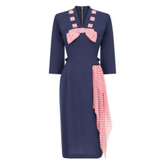 1940s Minx Mode Navy Patriotic Dress With Checkered Ribbon