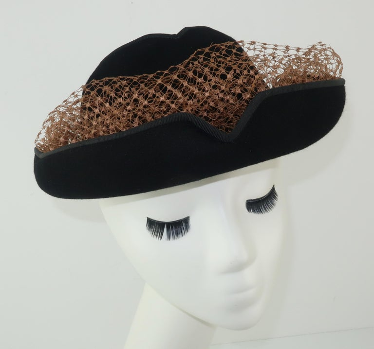 Women's 1940's Miriam Lewis Black Hat With Camel Netting For Sale