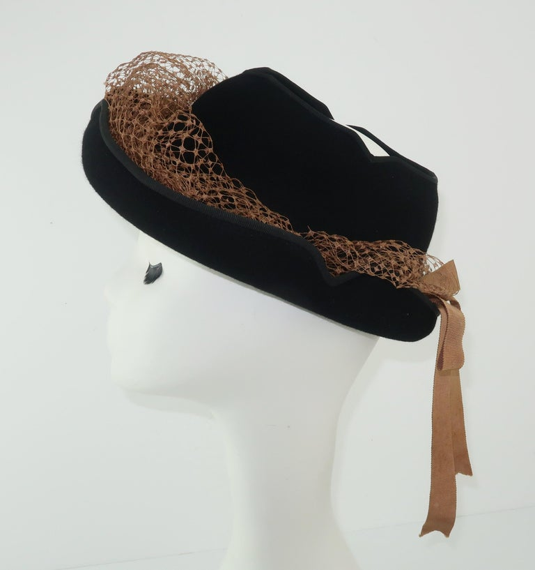 1940's Miriam Lewis Black Hat With Camel Netting For Sale 1