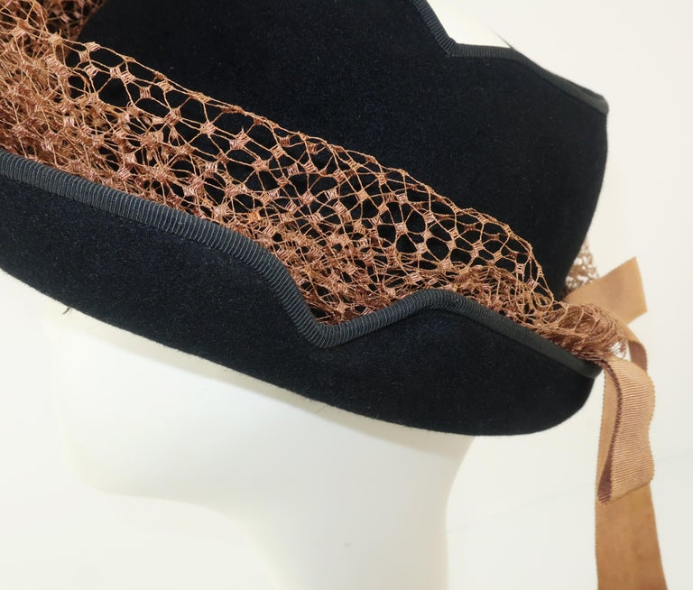 1940's Miriam Lewis Black Hat With Camel Netting For Sale 2