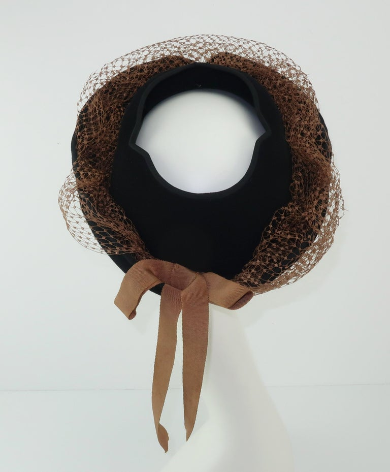 1940's Miriam Lewis Black Hat With Camel Netting For Sale 3