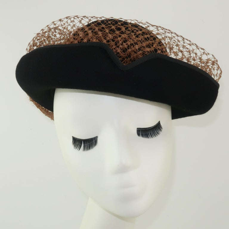 1940's Miriam Lewis Black Hat With Camel Netting For Sale 4