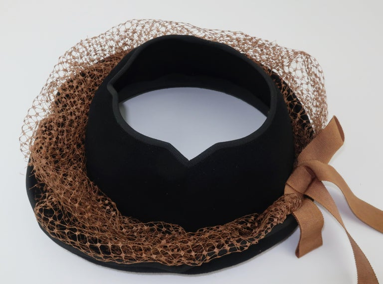 1940's Miriam Lewis Black Hat With Camel Netting For Sale 5