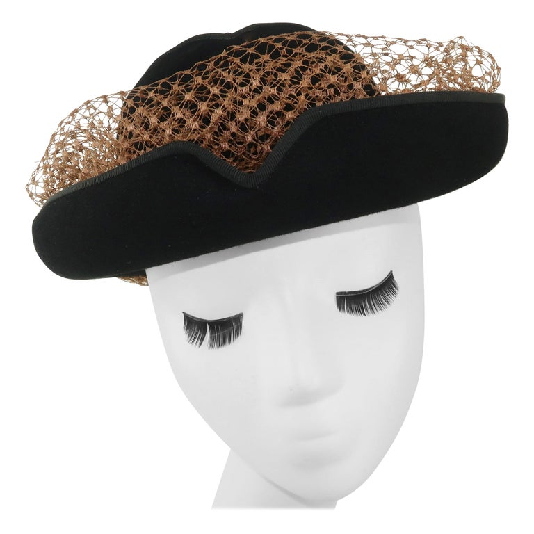 1940's Miriam Lewis Black Hat With Camel Netting For Sale