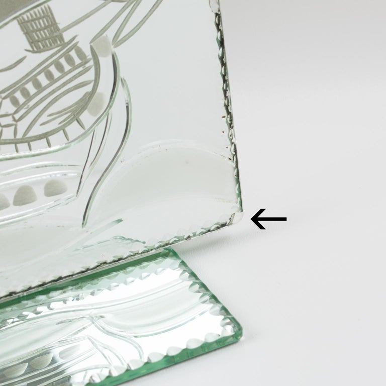 1940s Mirror Picture Frame Etching Galleon Boat For Sale 3
