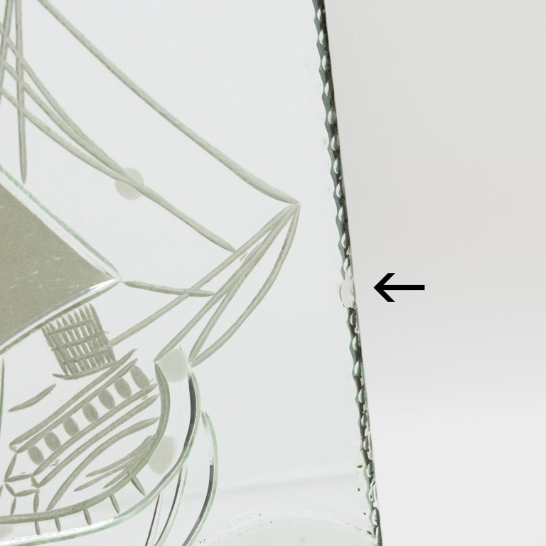 1940s Mirror Picture Frame Etching Galleon Boat For Sale 4