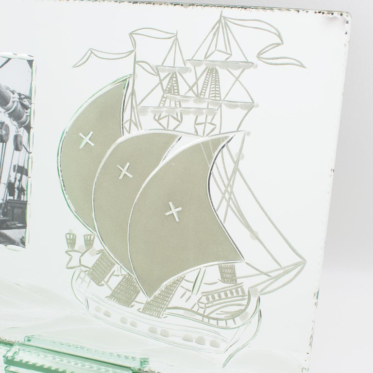 1940s Mirror Picture Frame Etching Galleon Boat In Good Condition For Sale In Atlanta, GA