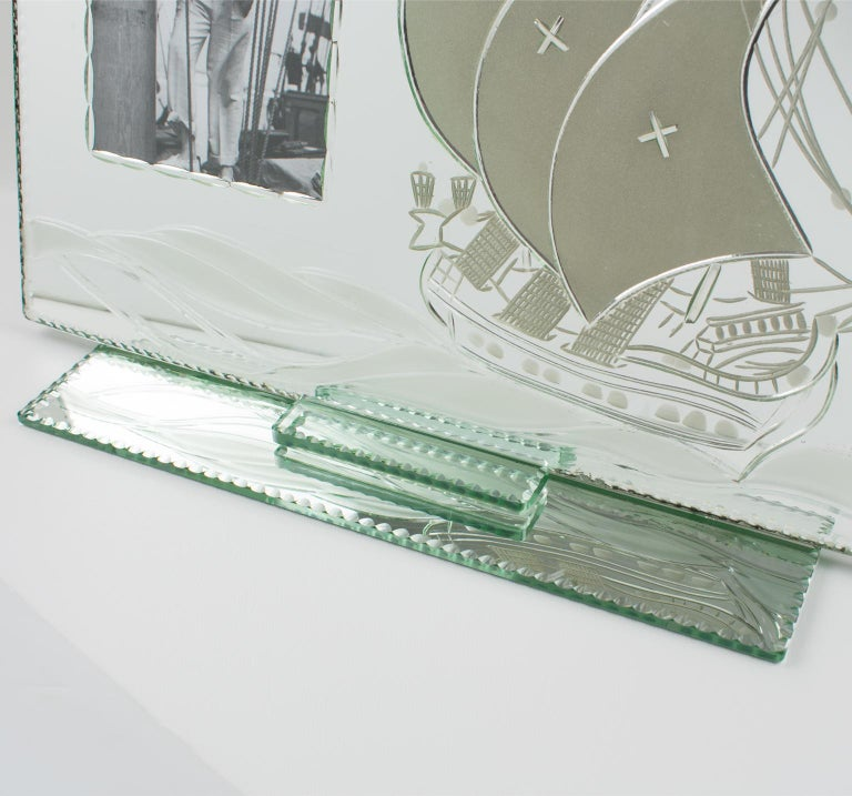 Mid-20th Century 1940s Mirror Picture Frame Etching Galleon Boat For Sale