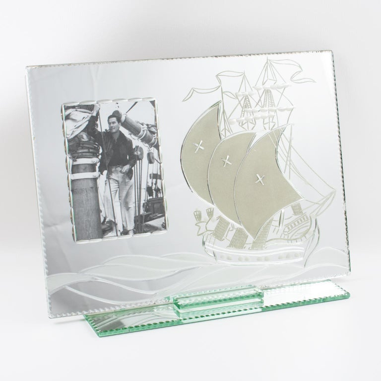 1940s Mirror Picture Frame Etching Galleon Boat For Sale 1