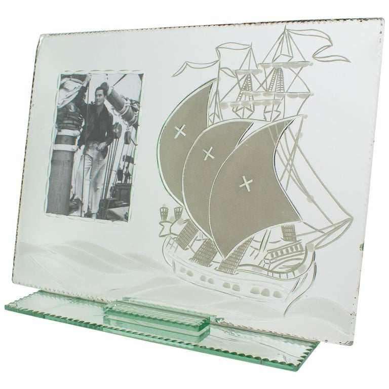 1940s Mirror Picture Frame Etching Galleon Boat For Sale