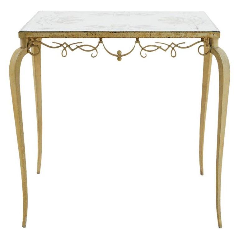 1940s Mirror Top Table by Pierre Lardin