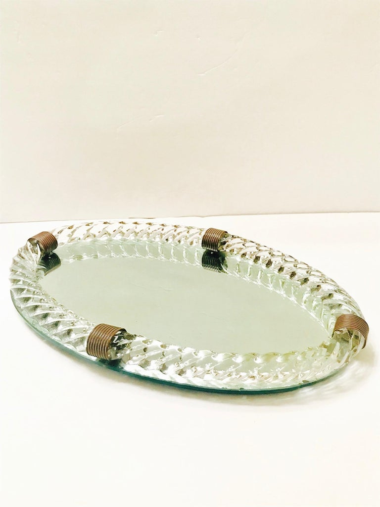 1940s Mirrored Vanity Tray with Murano Glass Rope Gallery by Venini For Sale 3