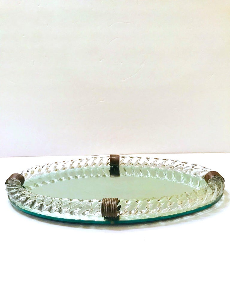 Bronzed 1940s Mirrored Vanity Tray with Murano Glass Rope Gallery by Venini For Sale