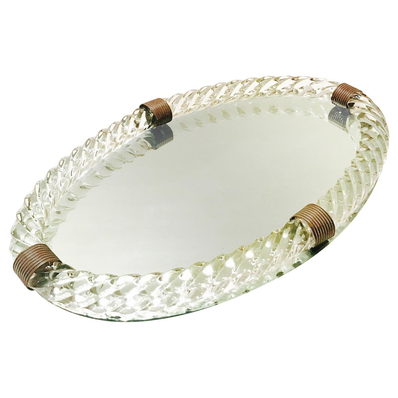 1940s Mirrored Vanity Tray with Murano Glass Rope Gallery by Venini