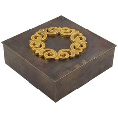 1940s Modernist Brass Decorative Lidded Box