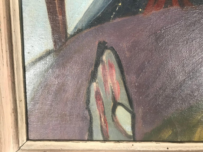 1940s modernist painting. Oil on board in the manner of Arthur Dove, wonderful period painting, very well executed. Original Perion worm wood frame. Labeled on the back Arthur Dove but I am assuming its an attribution, hence the price.