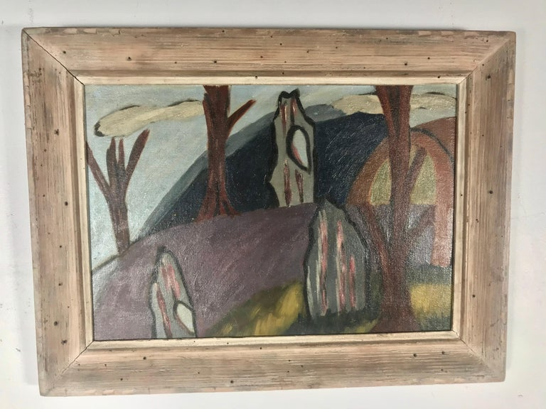 Hand-Painted 1940s Modernist Painting, Oil on Board in the Manner of Arthur Dove