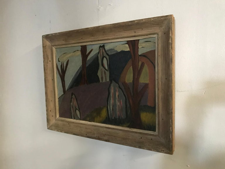 Wood 1940s Modernist Painting, Oil on Board in the Manner of Arthur Dove