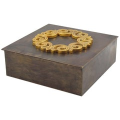 1940s Modernist Patinated Brass Decorative Lidded Cigar Box with Gilt Ornament