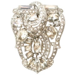 1940'S Monumental Silver & Swarovski Crystal Fur Clip By, Eisenberg Original