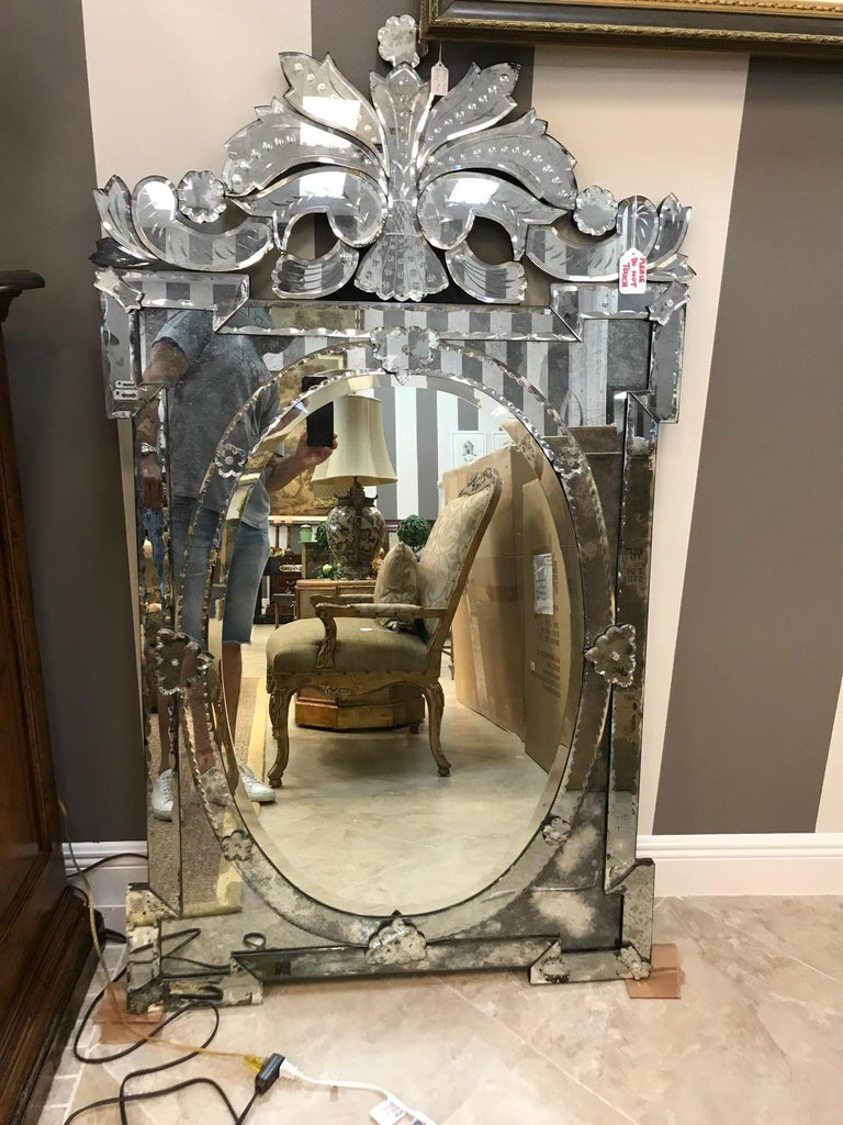 1940s Monumental Venetian Mirror With Hand Etched Designs For Sale At 1stdibs