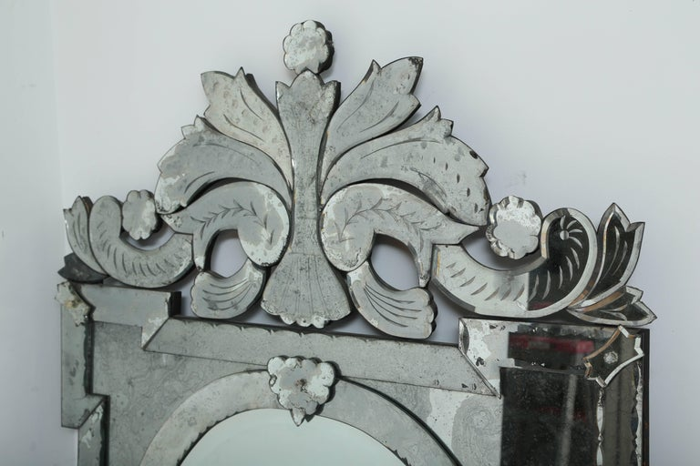 Hollywood Regency 1940s Monumental Venetian Mirror with Hand Etched Designs For Sale