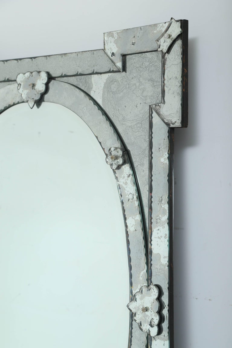 Beveled 1940s Monumental Venetian Mirror with Hand Etched Designs For Sale