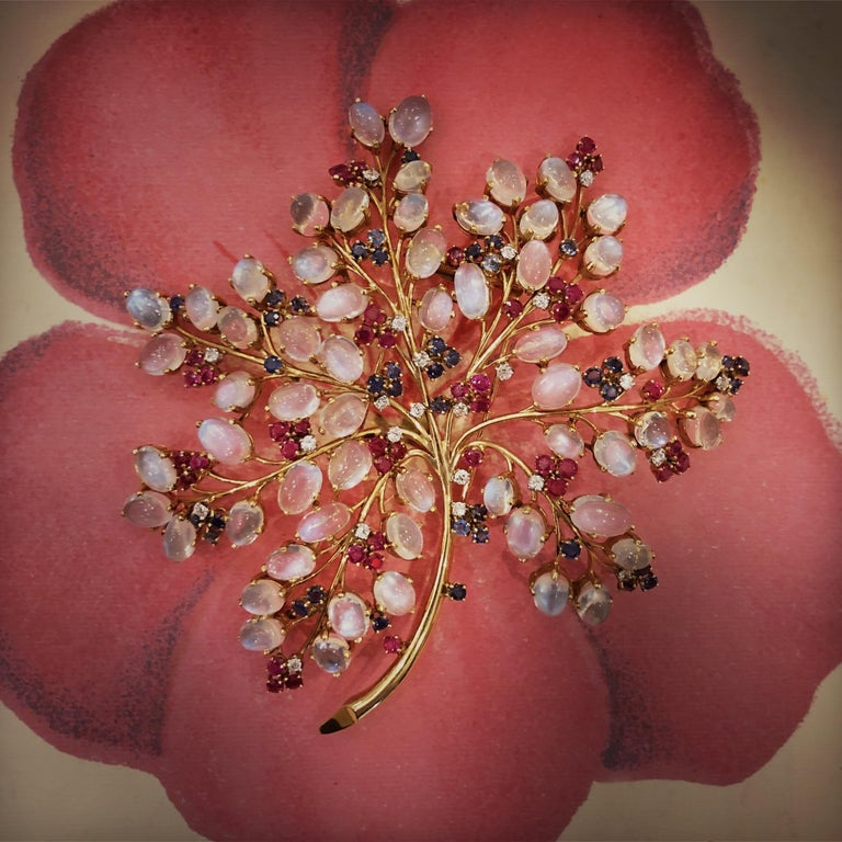 Women's 1940s Moonstone Sapphire Ruby Diamond and Gold Flower Brooch For Sale