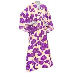 1940S Morphew Collection Purple Silk Printed Made From Japanese Kimono  Kaftan
