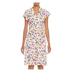 1940S Multicolor Floral Nylon Jersey Peplum Dress