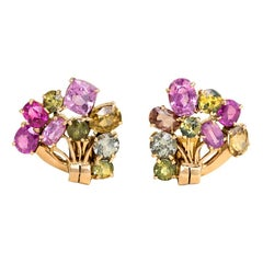 1940s Multicolored Gemstone and Gold Clip Earrings
