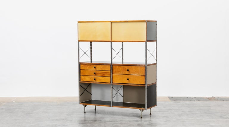 American 1940s Multicolored Plywood, Fiberglass, Metal ESU Shelf Charles & Ray Eames For Sale